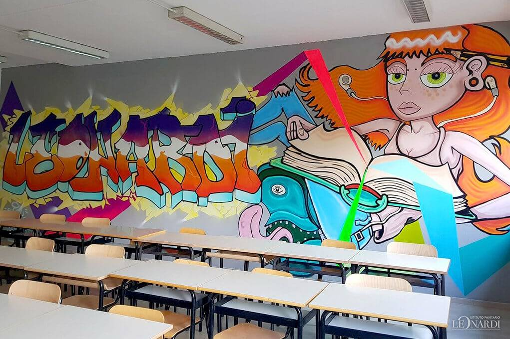 Il murales di Ivan Bravi per la scuola